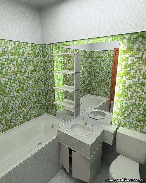 Отделка ванной комнаты мелкой плиткой дизайн