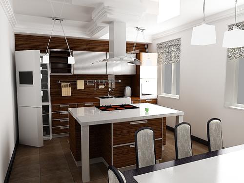 Кухни для помещений с большой